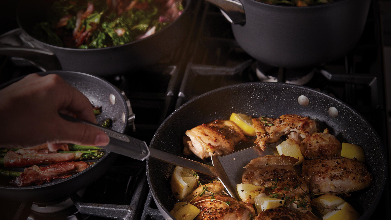 food being prepared in nonstick cookware